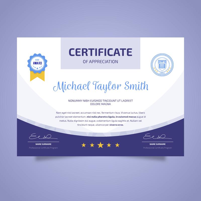 扁平设计的毕业证书矢量素材(EPS/AI)