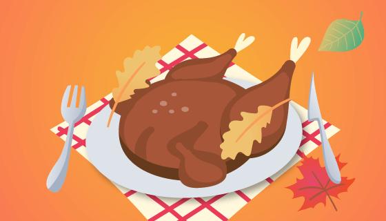 美味鸡肉感恩节背景矢量素材(EPS/AI)