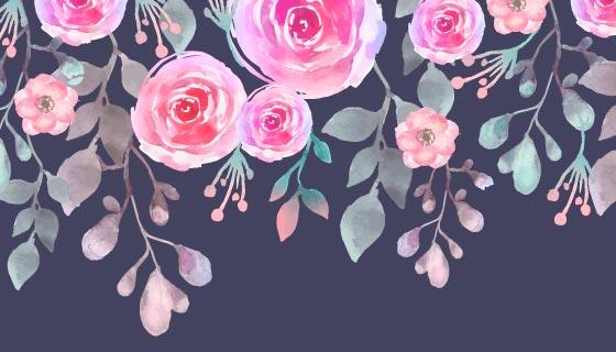 美丽的水彩花卉背景矢量素材(EPS/AI)