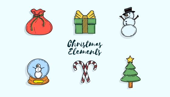 可爱的手绘圣诞节元素矢量素材(EPS/AI)