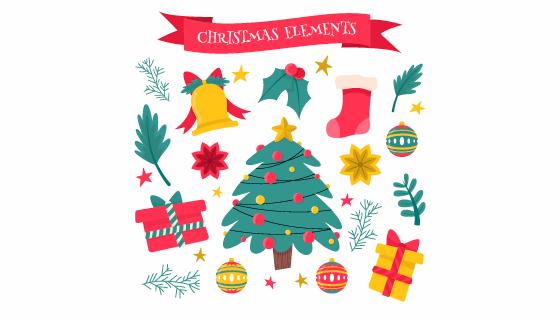 可爱的圣诞节元素矢量素材(EPS/AI/PNG)