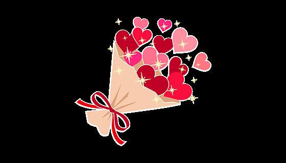 红色爱心花束(PNG)