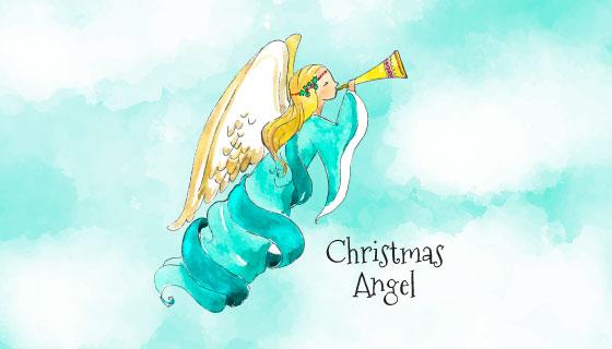 可爱的水彩圣诞天使矢量素材(EPS/AI)