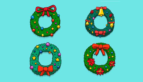 创意手绘圣诞节花环矢量素材(EPS/AI/PNG)