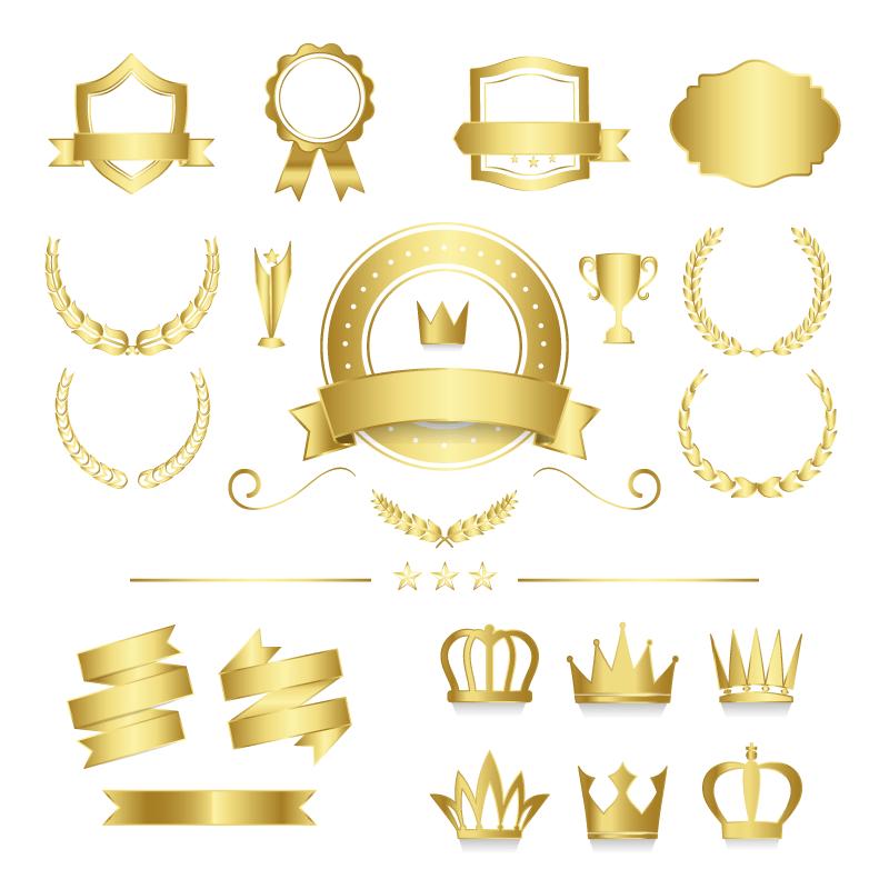 优质的金色徽章矢量素材(EPS/免扣PNG)