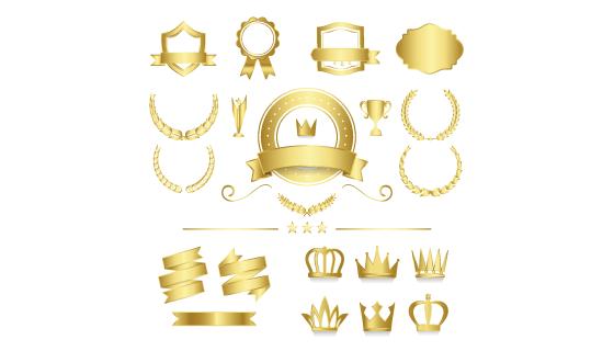 优质的金色徽章矢量素材(EPS/PNG)
