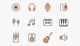 12个免费音乐类图标(AI)