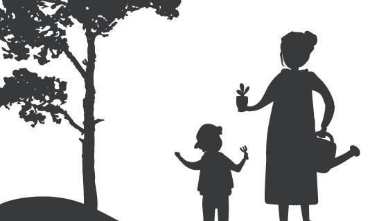 母子园艺剪影矢量素材(EPS)