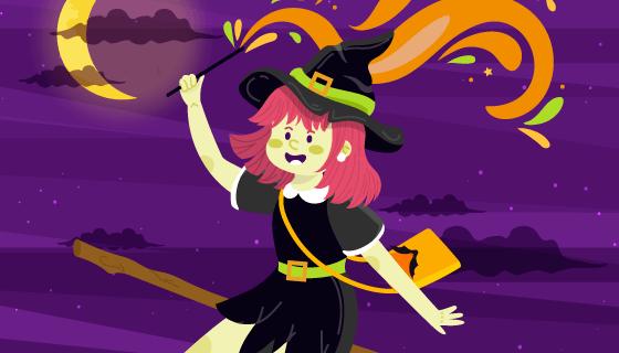 乘着飞天扫帚的可爱女巫矢量素材(EPS/AI)