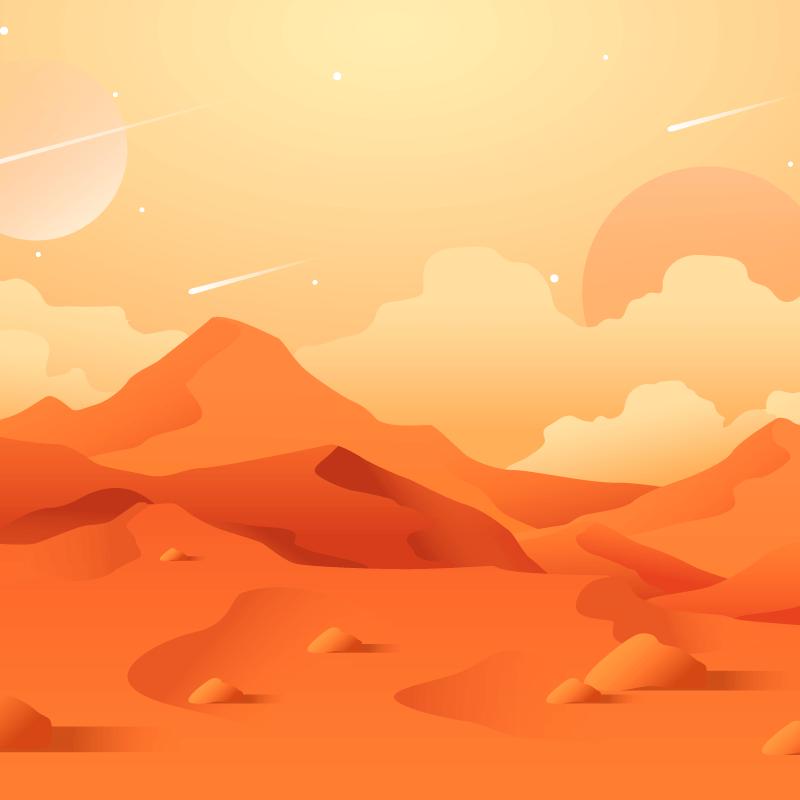 扁平风格彩色火星背景矢量素材(EPS/AI)