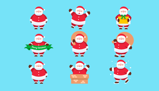 可爱的圣诞老人矢量素材(EPS/AI)