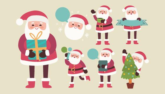 可爱的圣诞老人矢量素材(EPS/PNG)
