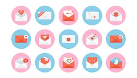 25个免费的情人节信封图标(PSD)