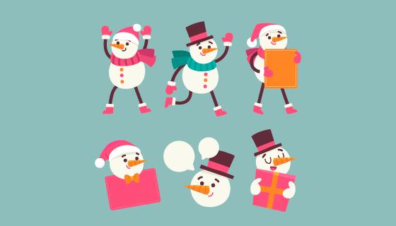 可爱的雪人矢量素材(EPS/AI/PNG)