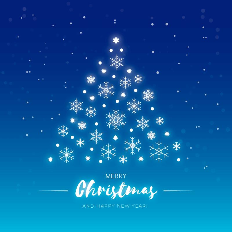 可爱雪花圣诞树矢量素材(eps/ai)