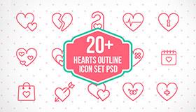 23个心型线性图标(PSD)