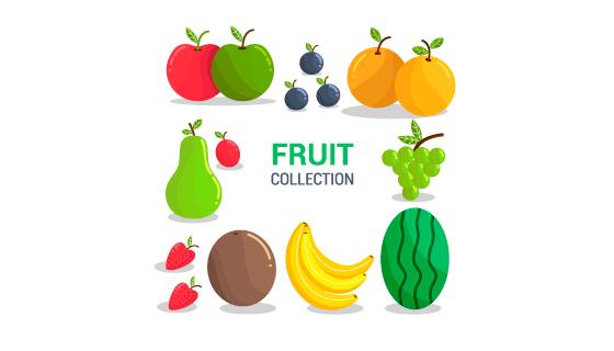 扁平风格新鲜水果矢量素材(EPS/AI/PNG)