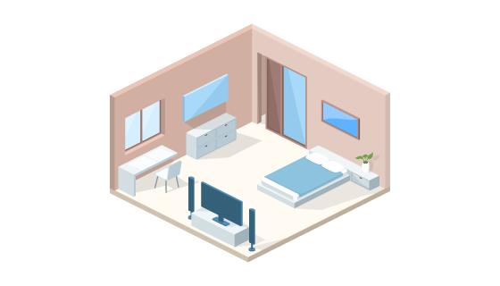 卧室内部截面矢量素材(EPS/PNG)