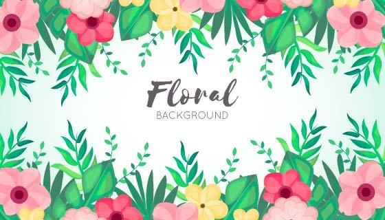 漂亮多彩的花卉背景矢量素材(EPS/AI/PNG)