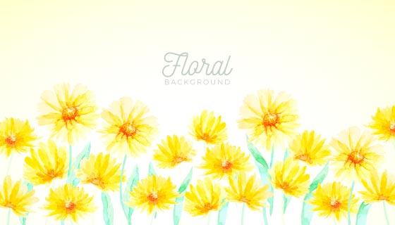 黄色水彩花卉背景矢量素材(EPS/AI)