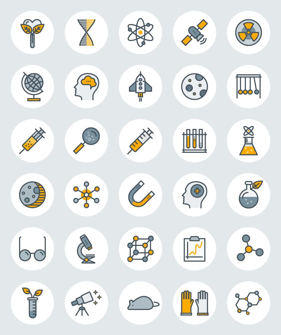 30个科学题材图标(AI/EPS/PSD/SVG/PNG)