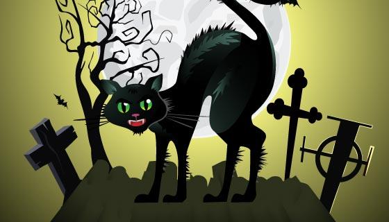 墓地猫咪万圣节背景矢量素材(EPS)