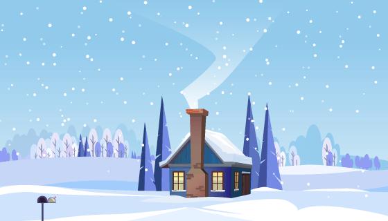 小屋子和炊烟的冬季景观矢量素材(EPS)