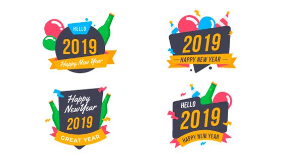 2019新年快乐标签矢量素材(EPS/AI/PNG)
