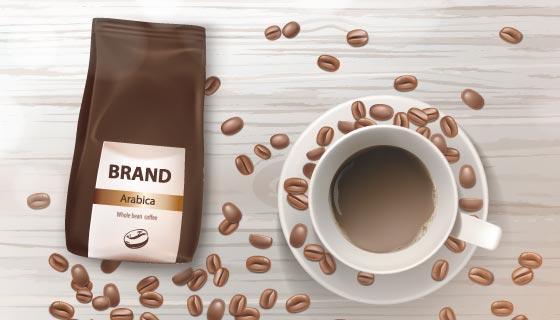 美味逼真的咖啡和咖啡豆矢量素材(EPS)