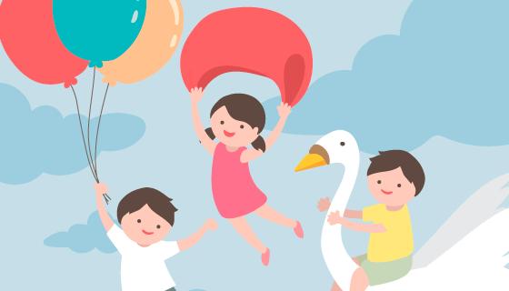 飞翔的小朋友儿童节背景矢量素材(eps/ai)