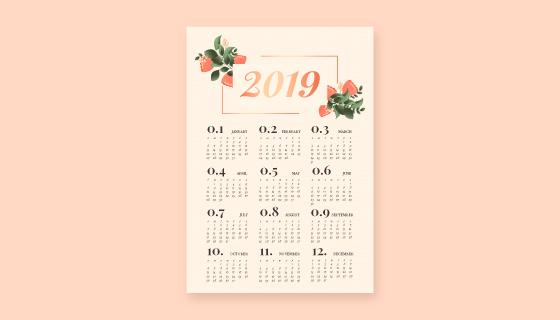 漂亮花卉装饰的2019日历矢量素材(EPS/AI)