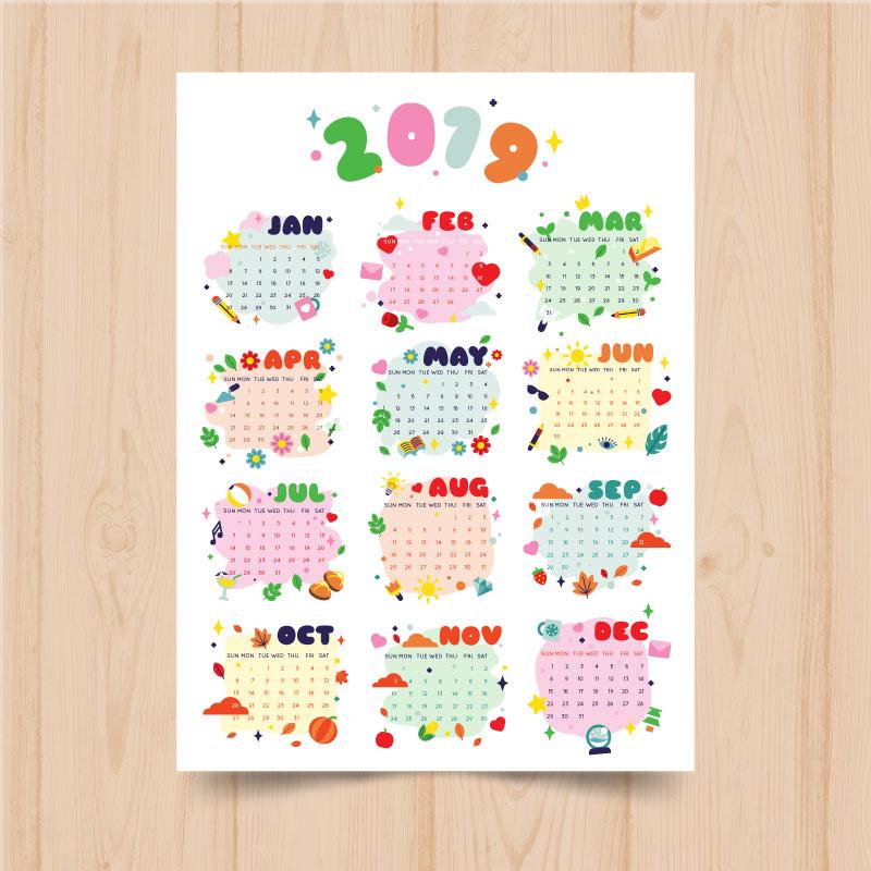 卡通风格2019日历矢量素材(eps/ai)