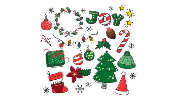 手绘圣诞节元素矢量素材(EPS/AI/PNG)