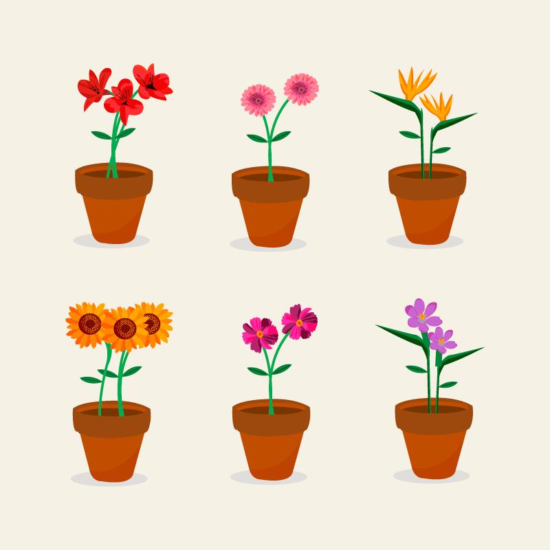 花卉盆栽集合矢量素材(EPS/AI/免扣PNG)