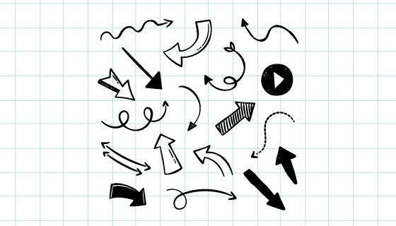 手绘黑白箭头矢量素材(EPS/AI/PNG)