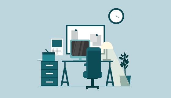 扁平风格办公桌矢量素材(EPS/AI/PNG)