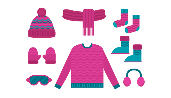 扁平风格冬季服饰矢量素材(EPS/AI/PNG)