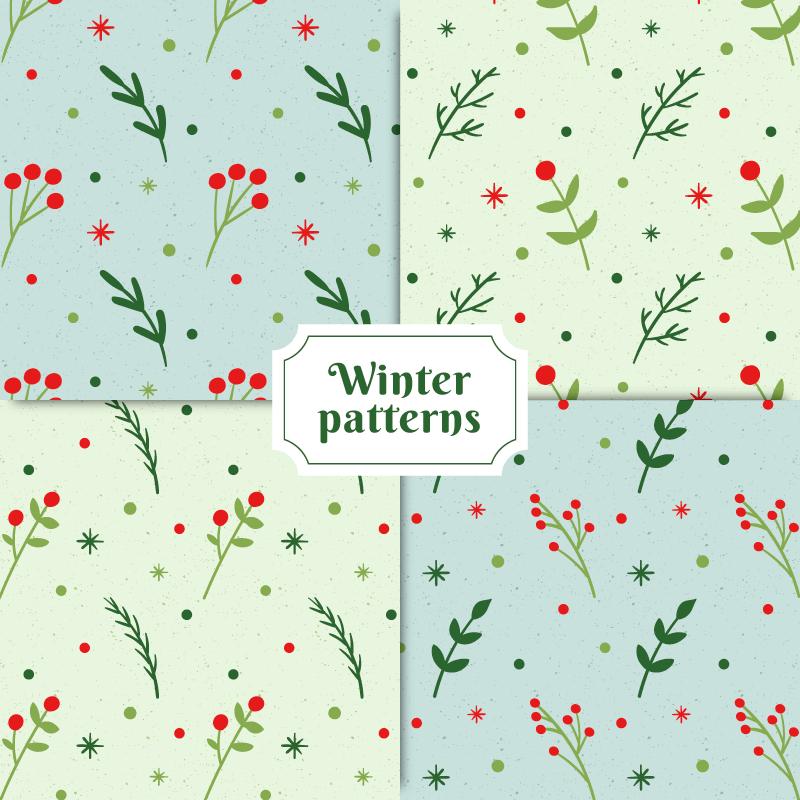 手绘冬季花卉图案矢量素材(EPS/AI)