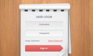 记事本风格用户登录界面PSD源文件/HTML代码