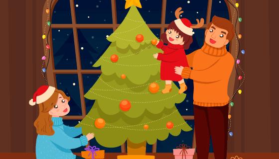 圣诞节家庭场景矢量素材(EPS/AI)