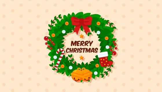 美丽的圣诞花环矢量素材(EPS/AI/PNG)