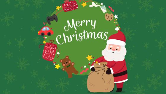 圣诞老人圣诞节背景矢量素材(EPS/AI)