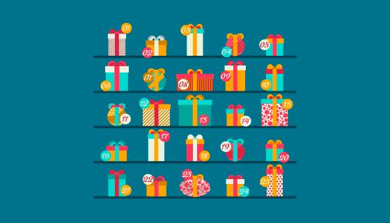 圣诞节礼物/礼盒矢量素材(EPS/AI/PNG)
