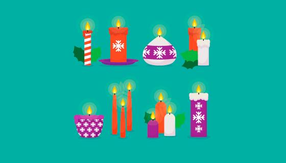 扁平圣诞节蜡烛矢量素材(EPS/AI/PNG)