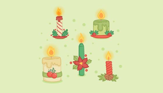 手绘圣诞节蜡烛矢量素材(EPS/AI)