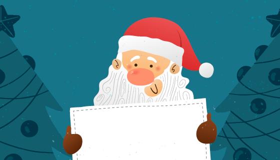 手绘圣诞老人手持白板矢量素材(EPS/AI)