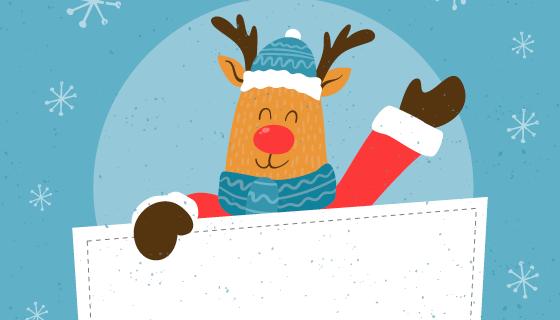 手绘圣诞驯鹿手持白板矢量素材(EPS/AI)