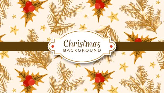 金色叶子圣诞节背景矢量素材(EPS/AI)