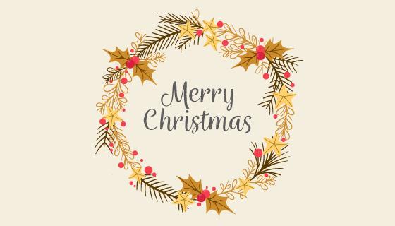 金色花环圣诞节背景矢量素材(EPS/AI/PNG)