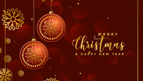 奢华圣诞球和雪花装饰背景矢量素材(EPS)